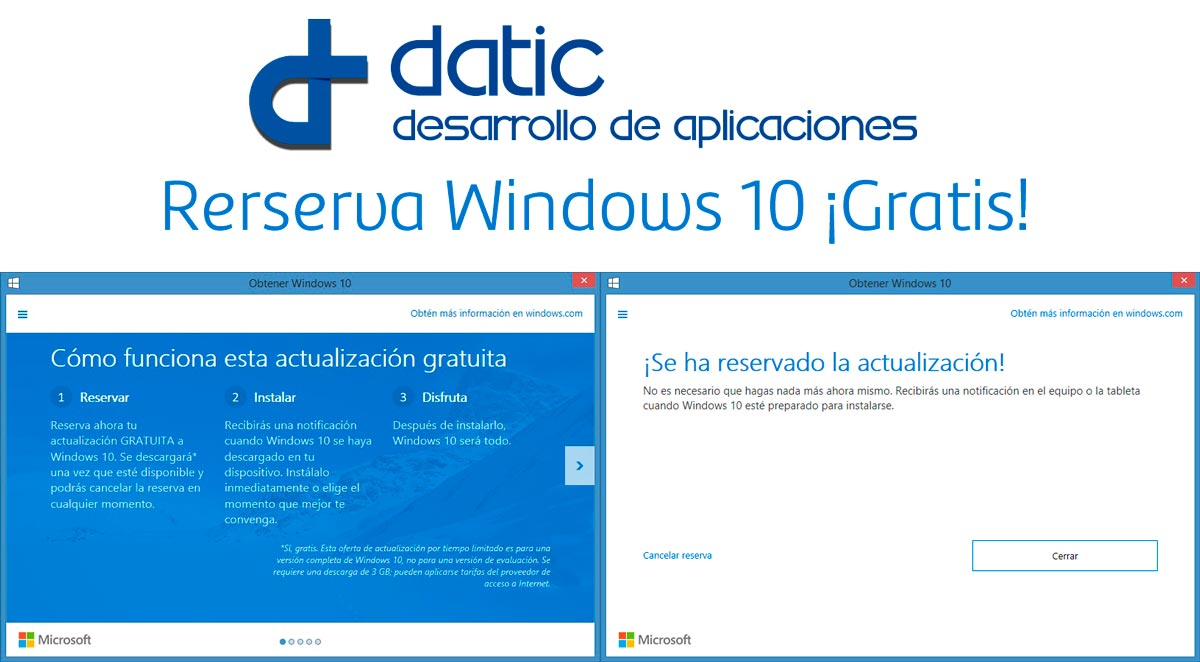 Datic y como Reservar Windows 10