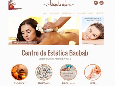 Datic: Página Web del Centro de Estética Natural Baobab